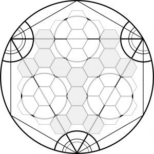 Black and white concept draft for an Alchemy Hex playing board.